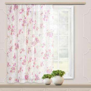 Штора для кухни вуаль-печать 145х150 см, лилии, розовый, пэ 100% 5058637