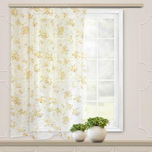 Штора вуаль печать лилии 140х145 см, цвет золото