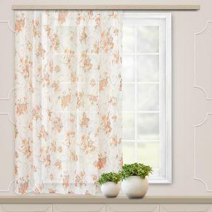 Штора вуаль печать лилии 140х145 см, цвет персик