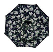 Зонт Наоборот, чёрный с лилиями