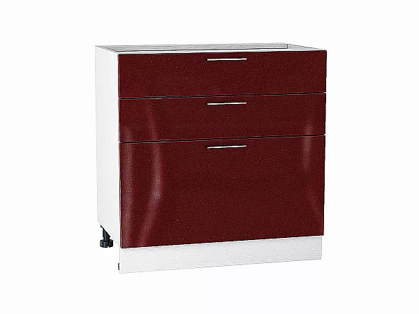 Шкаф нижний Валерия Н803 (гранатовый металлик)