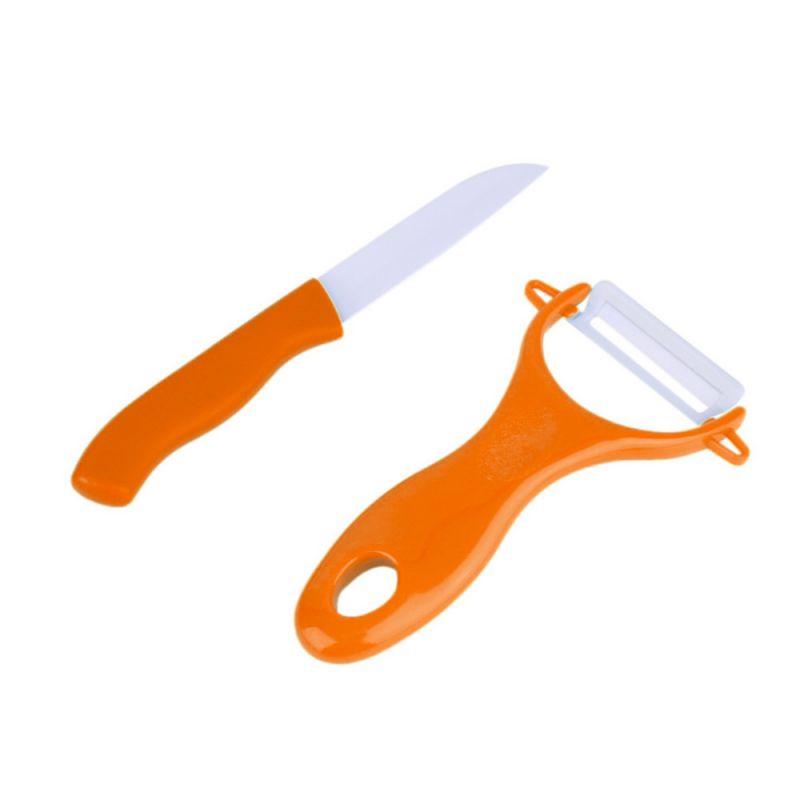 Набор Керамический Нож И Овощечистка, Цвет Оранжевый