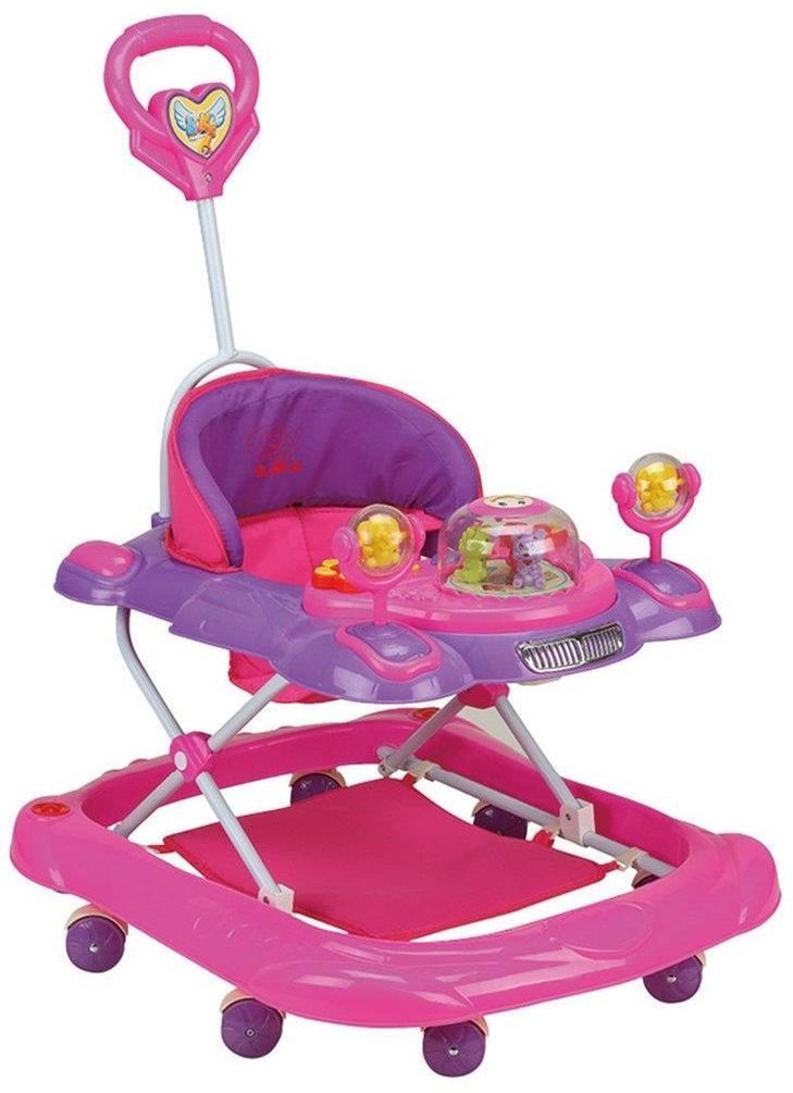 Ходунки детские Bright (розовый), свет, звук, ручка для родителей, силиконовые колеса с фиксацией, столик с музыкальной каруселькой, эл.пит.АА*3 не вх.в комплект