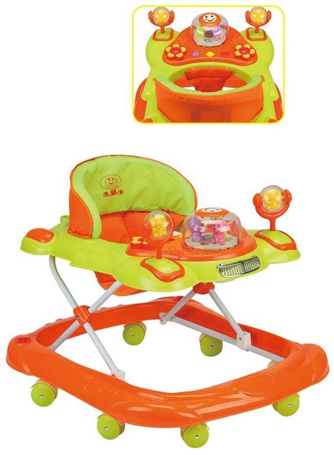 Ходунки детские Bright (салат/оранж), свет, звук, ручка для родителей, силиконовые колеса с фиксацией, столик с музыкальной каруселькой, эл.пит.АА*3 не вх.в комплект
