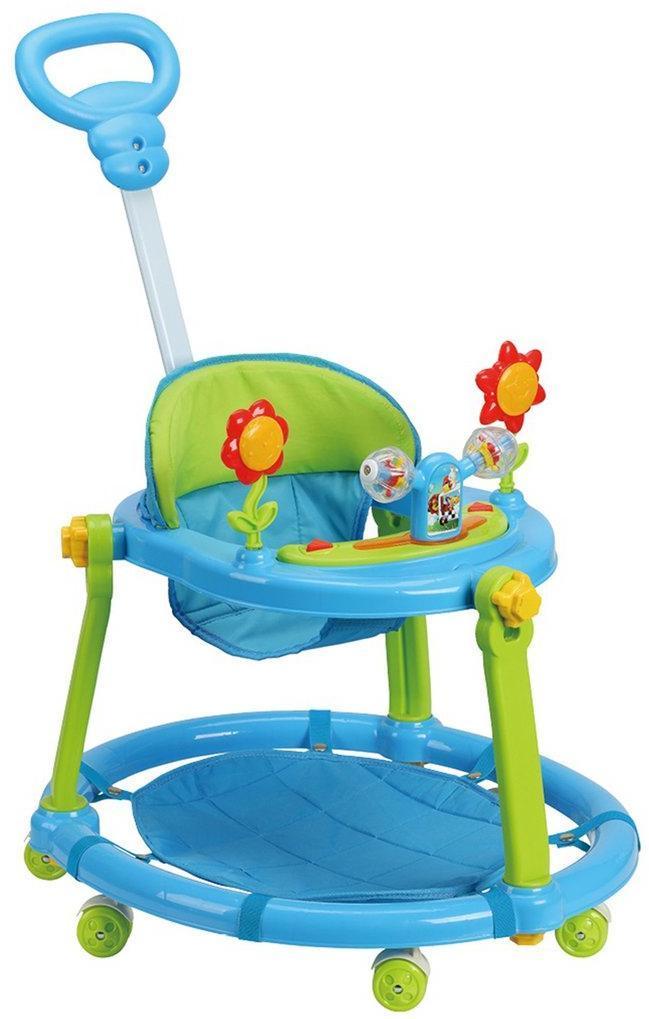 Ходунки детские Flower R, свет, звук, ручка для родителей, силиконовые колеса с фиксацией, эл.пит.АА*3 не вх.в комплект