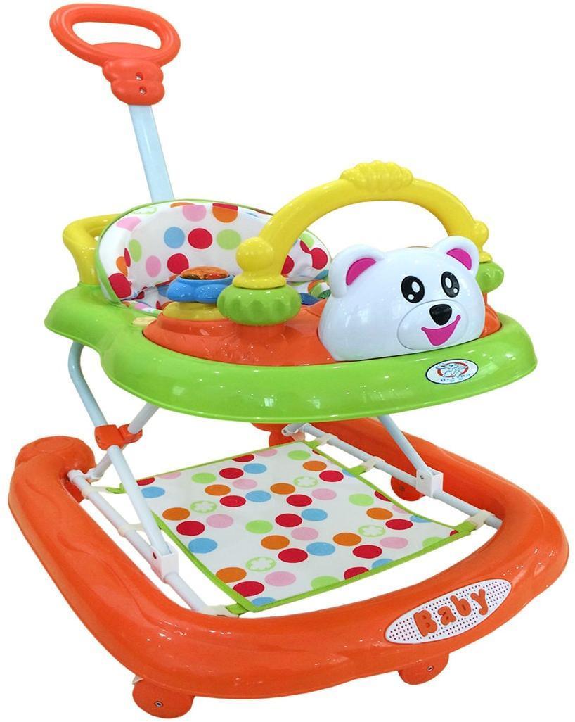 Ходунки детские Teddy (зел./оранж.), свет, звук, ручка для родителей, подножный коврик, съемная задняя часть, силиконовые колеса с фиксацией, эл.пит.АА*3 не вх.в комплект