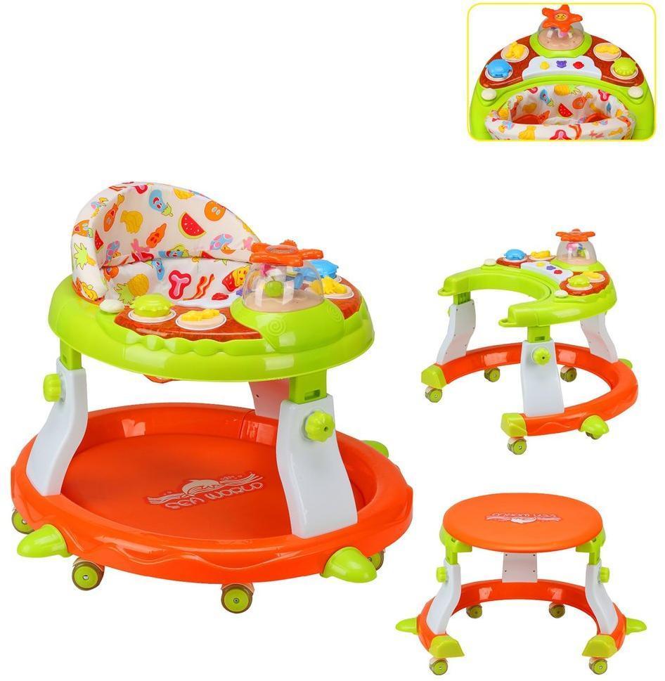 Ходунки-столик детские Star 2в1, свет, звук, силиконовые колеса с фиксацией, эл.пит. АА*3 не вх.в комплект