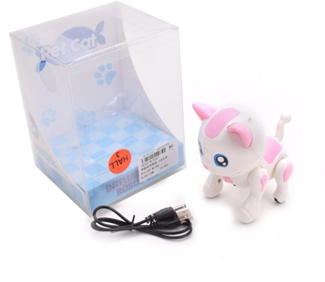 Робот-котенок сенсорный, звук, выполняет команды, программируется, аккум.в компл., з/у USB, кор.