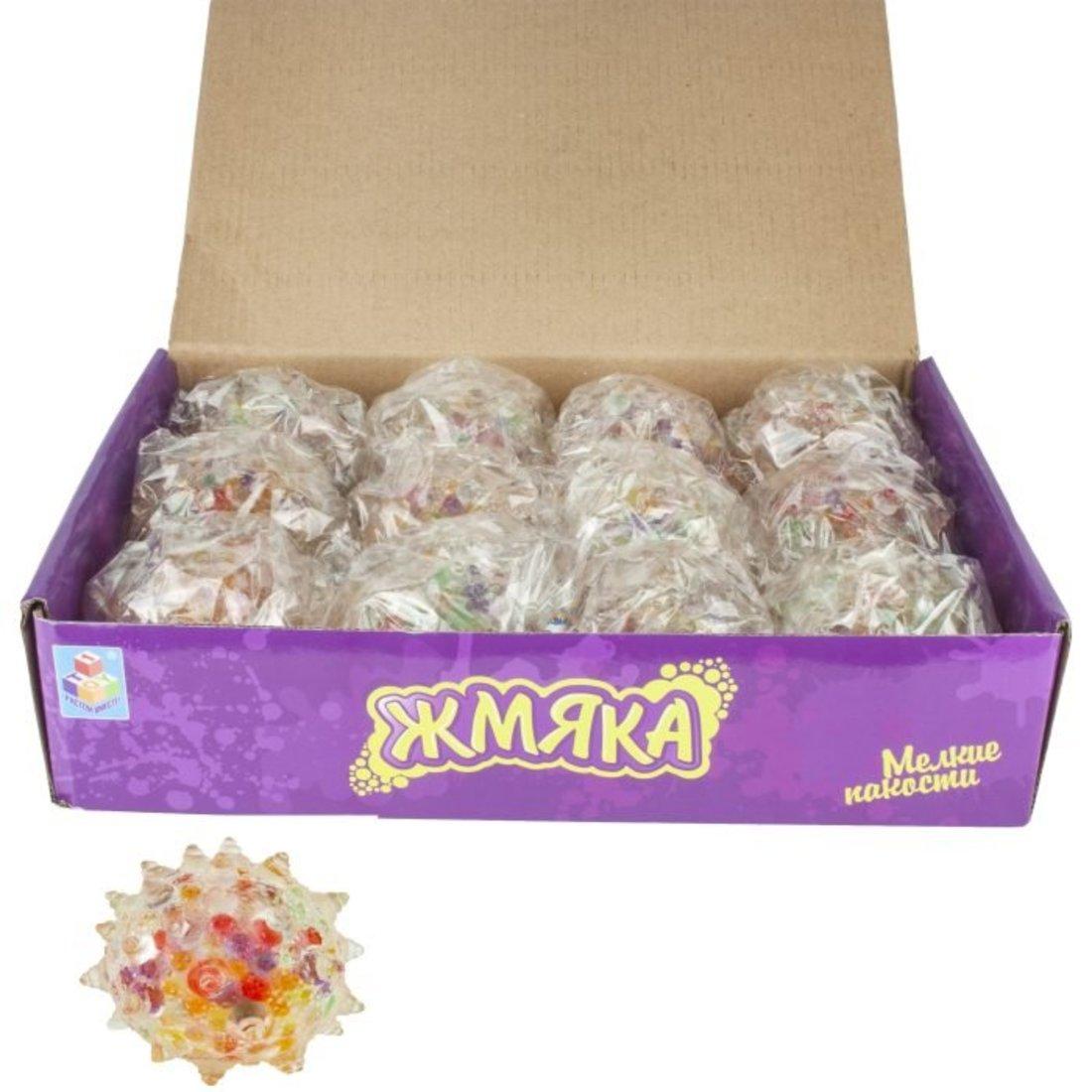 Мелкие пакости, жмяка шар булава с разноцветными шариками 6,5 см, в ассорт.