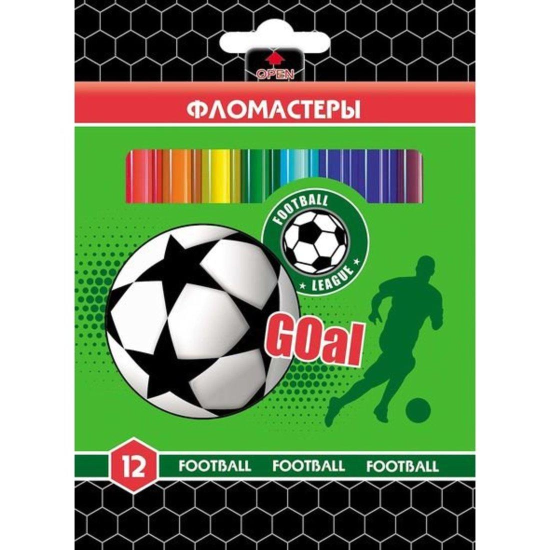Фломастеры 12 цв. FOOTBALL в карт.короб. с европодвесом