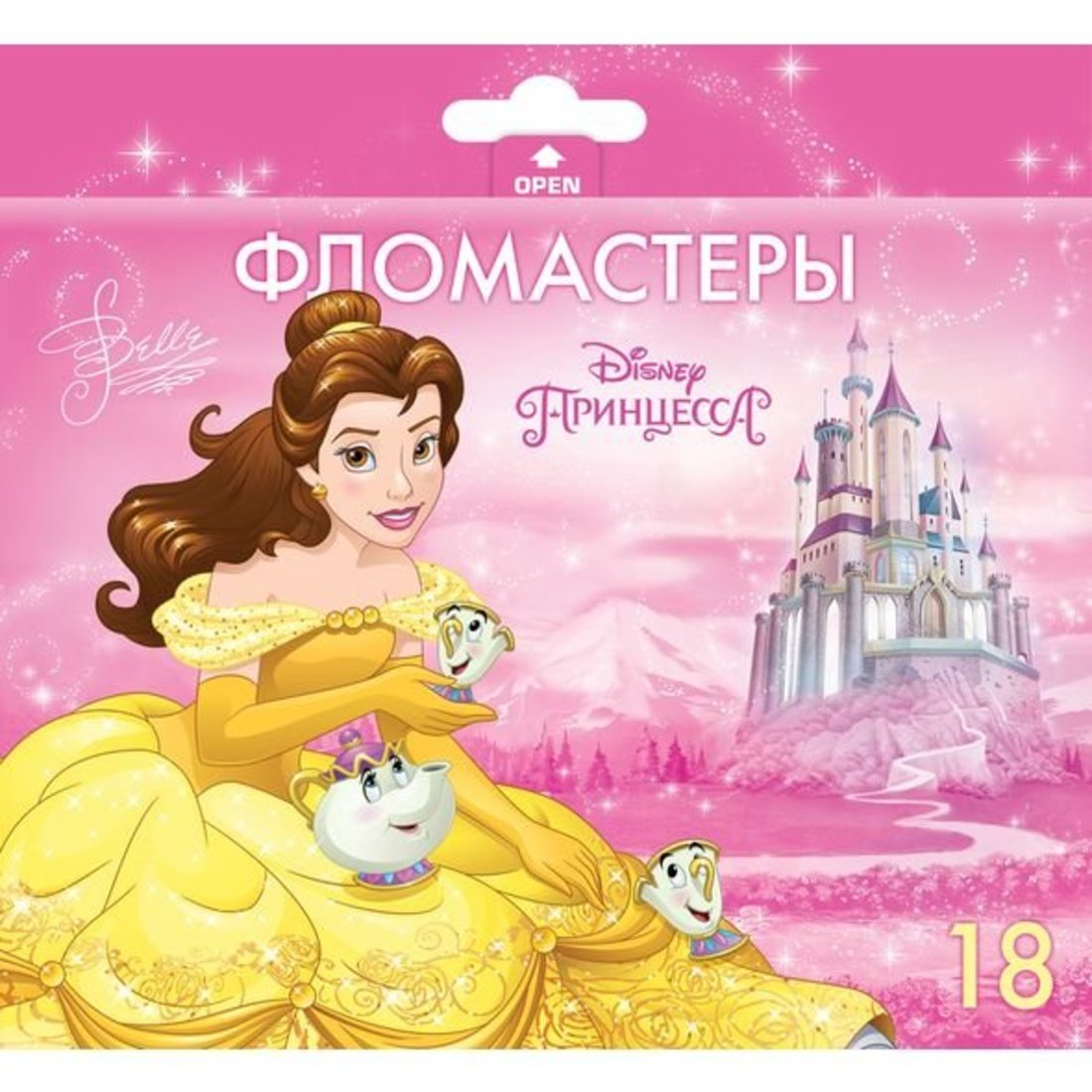 Фломастеры 18 цв. Принцессы в карт.короб. с европодвесом