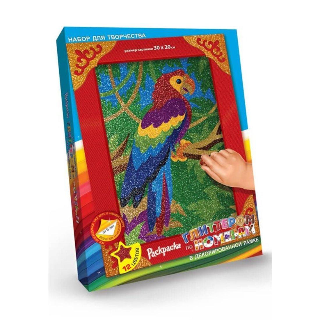 Набор для тв-ва Раскраска глитером Попугай