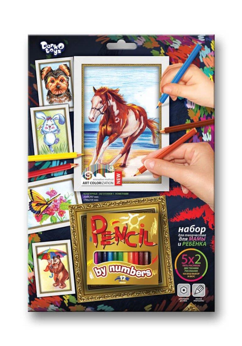 Набор для тв-ва раскраска карандашами по номерам Лошадь