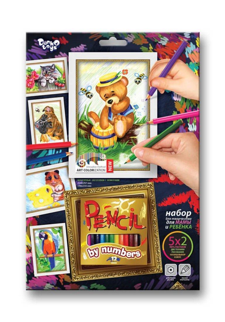 Набор для тв-ва раскраска карандашами по номерам Мишка