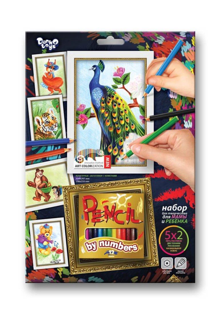 Набор для тв-ва раскраска карандашами по номерам Павлин