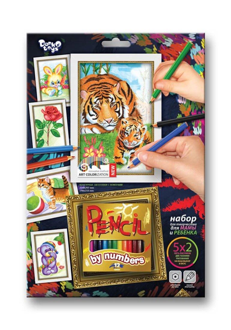 Набор для тв-ва раскраска карандашами по номерам Тигры