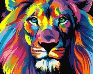 Роспись по холсту Радужный лев 16,5х13 см