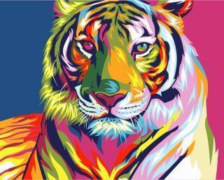 Роспись по холсту Радужный Тигр 16,5х13 см