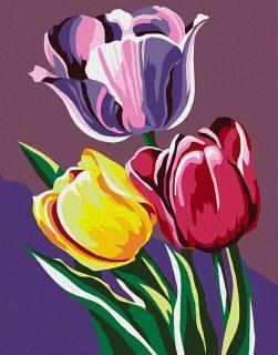Роспись по холсту Тюльпаны, 16,5х13 см