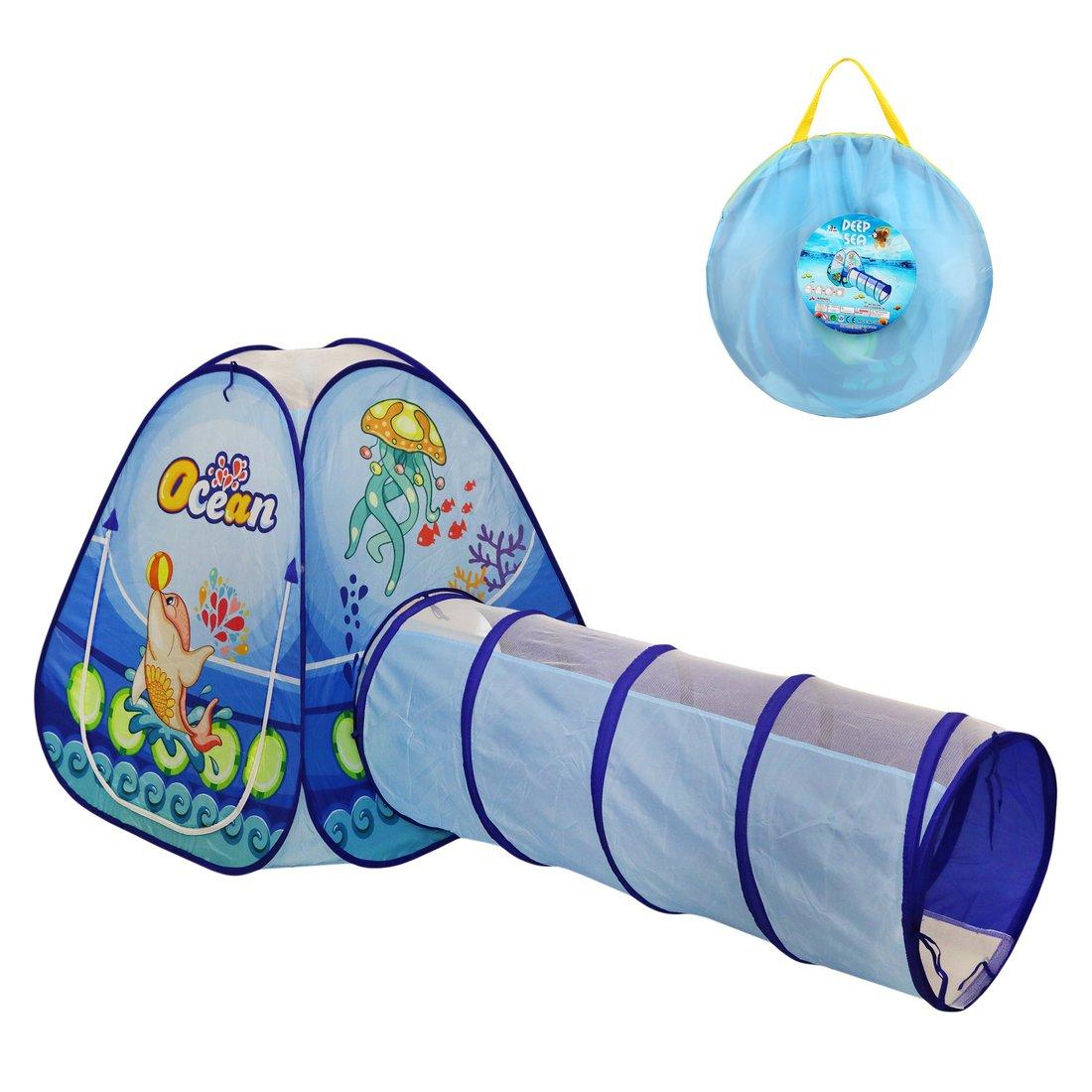 Палатка игровая с туннелем Океан, размер 210*90*90см, сумка на молнии