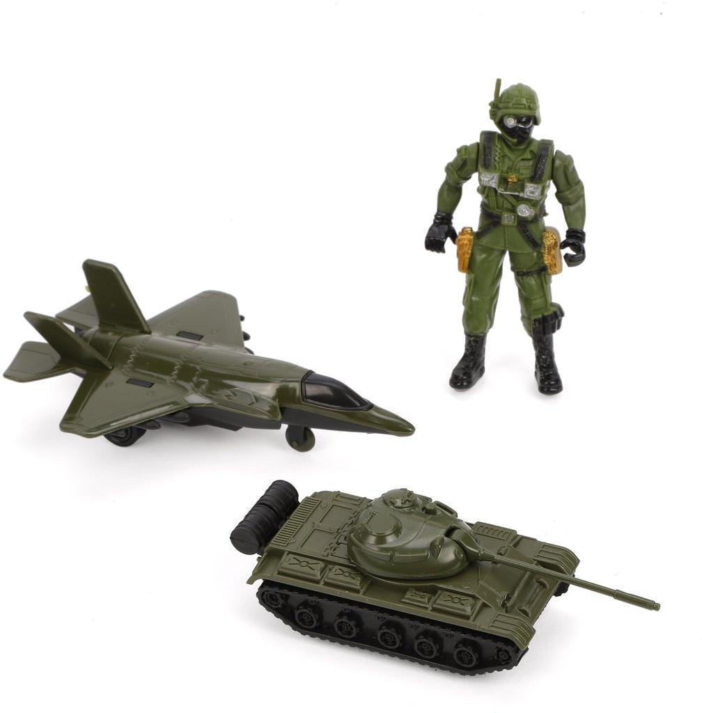 Игр.набор Военный, в комплекте: танк инерц., самолет инерц., фигурка 9 см., пакет