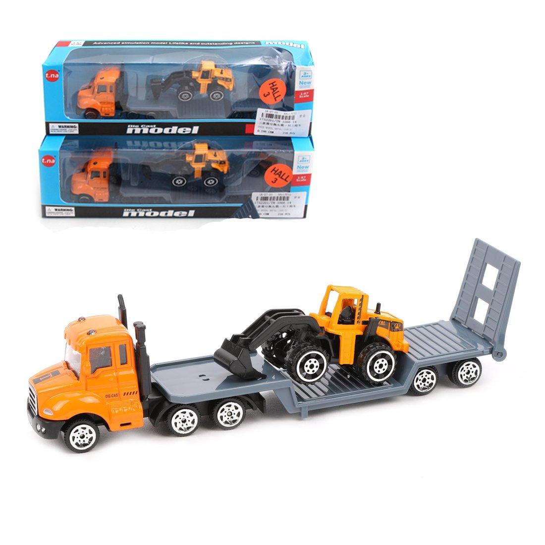 Игр.набор Спецтехника, металл., в комплекте: 2 машины, прицеп., коробка