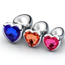Анальная пробка металл, камень сердце, размер L