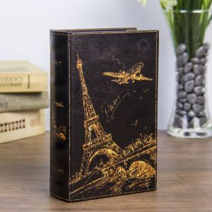 "Сейф-книга дерево ""Ночной Париж в золоте"" кожзам 17х11х5 см   3622208"