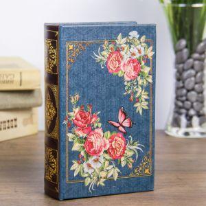 "Сейф-книга дерево ""Ретро. Цветы. Бабочки"" кожзам 17х11х5 см   3622200"