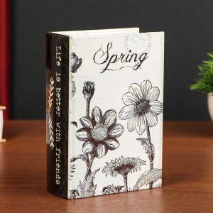 "Шкатулка-книга дерево кожзам ""Весна. Цветы"" 16х11х4,5 см   4825537"