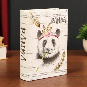 """Шкатулка-книга дерево кожзам """"Панда-индеец"""" 18х13х4 см   4825579"""