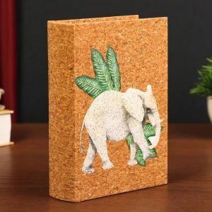 "Шкатулка-книга дерево кожзам под пробку ""Индийский слон"" 18х13х4 см   4825583"