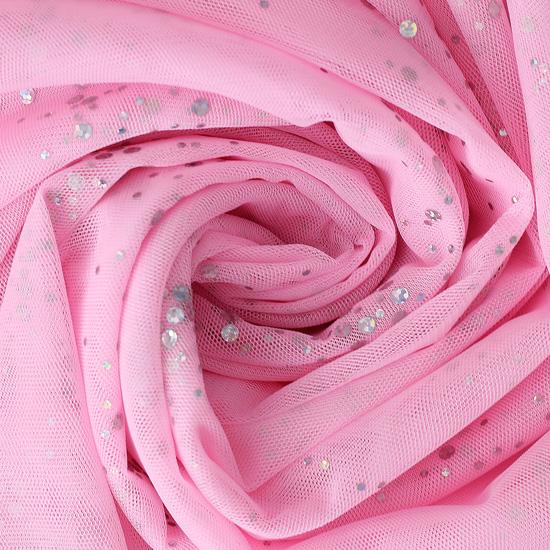 Мягкий фатин (еврофатин) - Розовый с блестками 160х50