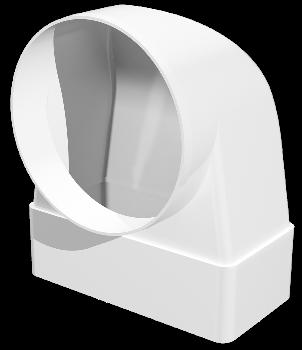 Соединитель угловой 90°, плоского воздуховода с круглым пластик, 55х110/D100