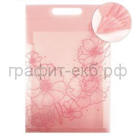 Папка А4 6 отделений с ручкой вертикальная Феникс+ Цветы розовая 250мкм 49693