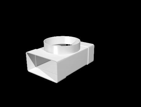 Соединитель Т-обр.пластик,плоских воздуховодов 60х120 с выходом на фланц. воздухораспр.D100