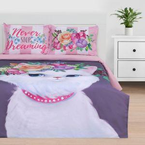 """Постельное бельё """"Этель"""" евро Dreaming cat 200*217 см, 220*240 см, 50*70+3 см - 2 шт, ранфорс 111 г/м2"""