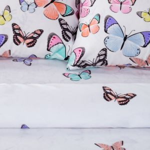 Постельное бельё «Экономь и Я» Бабочки евро 200?217 см, 220?240 см, 50?70 см - 2 шт, микрофайбер, 75 г/м?