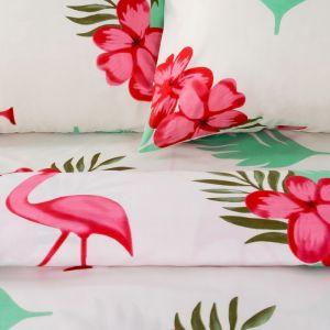Постельное бельё «Экономь и Я» Фламинго дуэт 143?215 см - 2 шт, 220?240 см, 50?70 см - 2 шт, микрофайбер, 75 г/м?