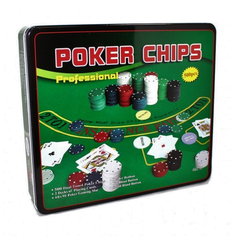 Покер, набор для игры (карты 2 колоды, фишки 500 шт,сукно)