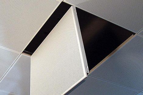Перфорированный кассетный потолок на скрытой системе