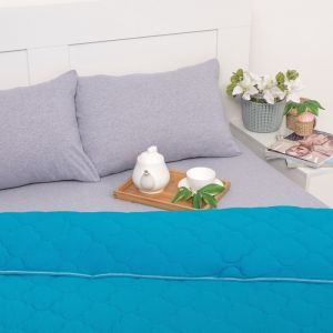 Постельное бельё Brooklin Bed 2 сп. цвет бирюза 180х200 рез. (серый), одеяло 170х220, 50х70 2шт, трик Терри, хл100%