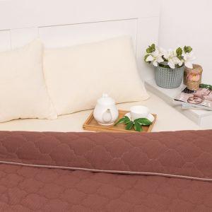 Постельное бельё Brooklin Bed 2 сп. цвет корич 180х200 рез. (крем), одеяло 170х220, 50х70 2шт, трик Терри, хл100%