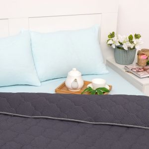 Постельное бельё Brooklin Bed 2 сп. цвет серый 180х200 рез. (голубой), одеяло 170х220, 50х70 2шт, трик Терри, хл100%