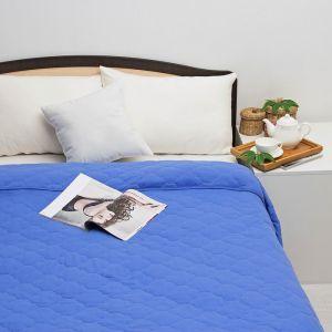 Постельное бельё Brooklin Bed евро, цвет синий, простыня на резинке 200х200, одеяло 200х220, 50х70 - 2шт, трикотаж Терри