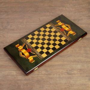 """Нарды """"Настоящему мужчине"""", деревянная доска 60х60 см, с полем для игры в шашки 4178025"""