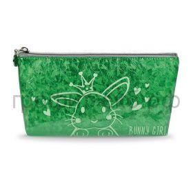 Пенал-косметичка Феникс+ синтетическая бумага Заяц зеленый 21,5х10,5х2,5см 51488