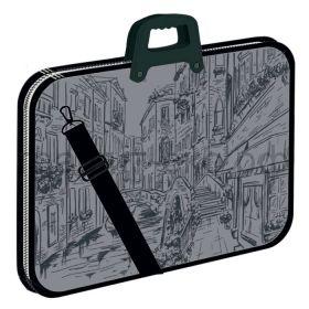 Портфель Феникс+ А3 пластик молния регулируемые ручки ремень 1отд. Город 51171