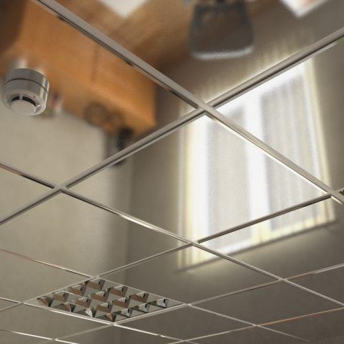 Потолок кассетный армстронг Cesal Tegular line A08 Хром Люкс 595х595 мм