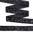 фото Тесьма с пайетками  на сетке ширина 30 мм. цвет черный (TDF03014)